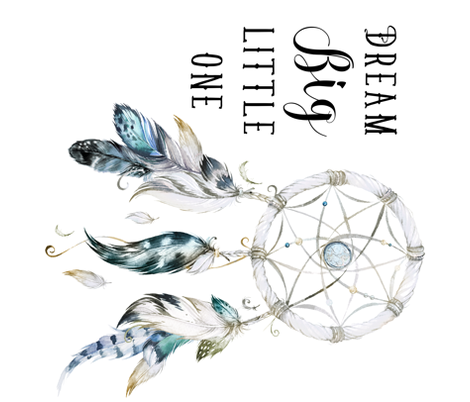 Dream Big Little One / Dream Catcher / White 90 degrees fabric by shopcabin on Spoonflower - custom fabric