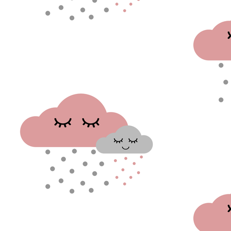 Sleepy Clouds - Dusty Pink and Gray fabric by ajoyfulriot on Spoonflower - custom fabric