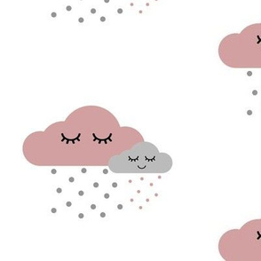 Sleepy Clouds - Dusty Pink and Gray