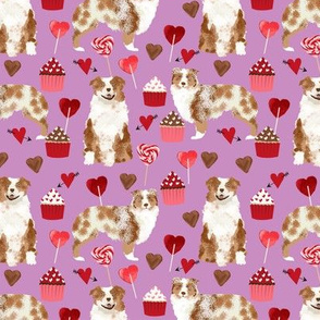 australian shepherd love valentines fabric red merle aussie dog fabric - purple