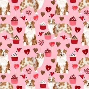 australian shepherd love valentines fabric red merle aussie dog fabric - blossom pink