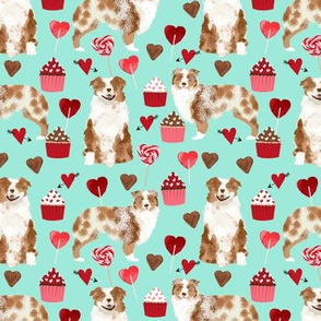 australian shepherd love valentines fabric red merle aussie dog fabric - aqua