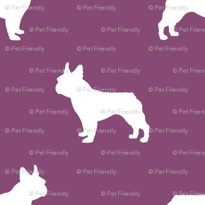 french bulldog fabric dog silhouette fabric - amethyst