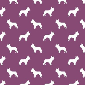 french bulldog fabric dog silhouette fabric - amethyst