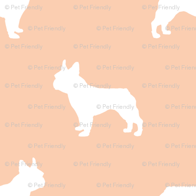 french bulldog fabric dog silhouette fabric - apricot