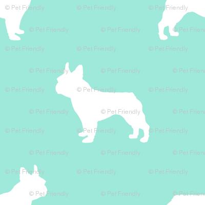 french bulldog fabric dog silhouette fabric - aqua
