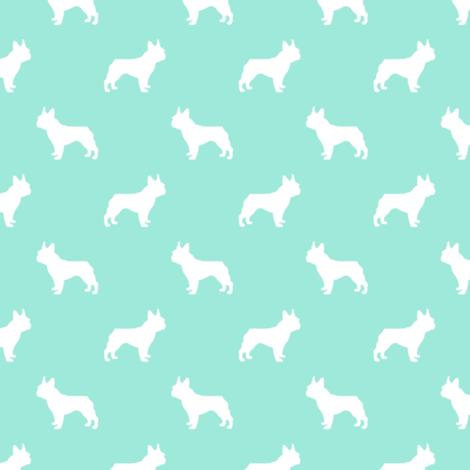french bulldog fabric dog silhouette fabric - aqua fabric by petfriendly on Spoonflower - custom fabric