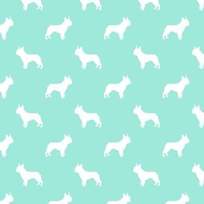 french bulldog fabric dog silhouette fabric - aqua
