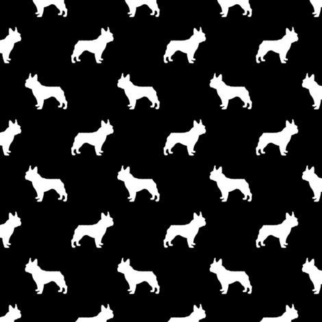 french bulldog fabric dog silhouette fabric - black fabric by petfriendly on Spoonflower - custom fabric