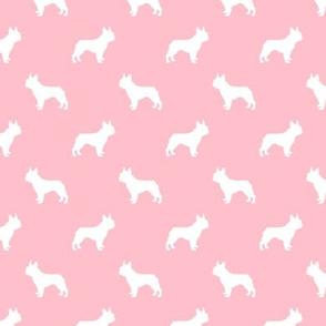 french bulldog fabric dog silhouette fabric - blossom pink