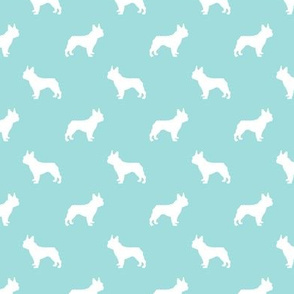 french bulldog fabric dog silhouette fabric - blue tint