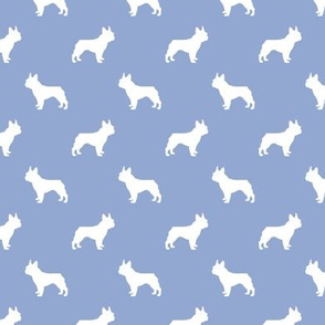 french bulldog fabric dog silhouette fabric - cerulean