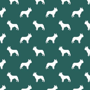 french bulldog fabric dog silhouette fabric - eden green