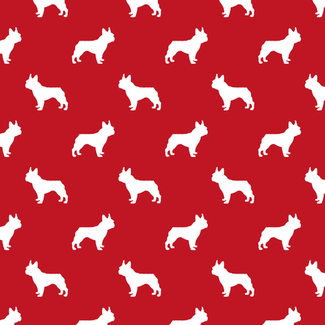 french bulldog fabric dog silhouette fabric - fire red fabric by petfriendly on Spoonflower - custom fabric