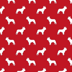 french bulldog fabric dog silhouette fabric - fire red