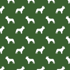 french bulldog fabric dog silhouette fabric - garden green