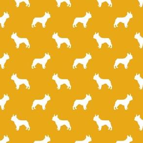 french bulldog fabric dog silhouette fabric - goldenrod