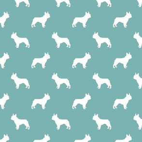 french bulldog fabric dog silhouette fabric - gulf blue