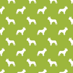 french bulldog fabric dog silhouette fabric - lime