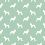 french bulldog fabric dog silhouette fabric - mint green
