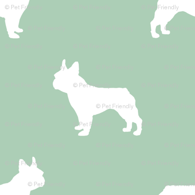 french bulldog fabric dog silhouette fabric - mint green