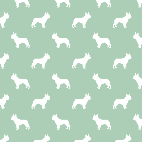 french bulldog fabric dog silhouette fabric - mint green fabric by petfriendly on Spoonflower - custom fabric