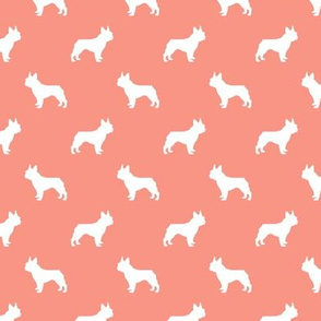 french bulldog fabric dog silhouette fabric - peach