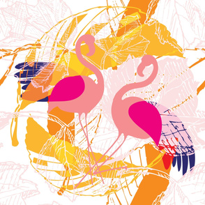 Tropical Island Floral Birds Pink