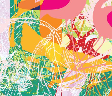 Tropical Island Floral Birds Bright fabric by phrosne_ras on Spoonflower - custom fabric