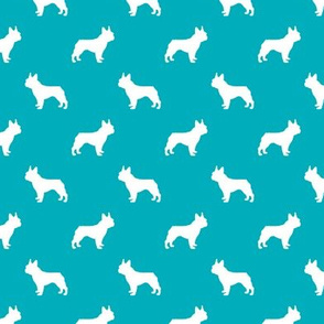 french bulldog fabric dog silhouette fabric - peacock