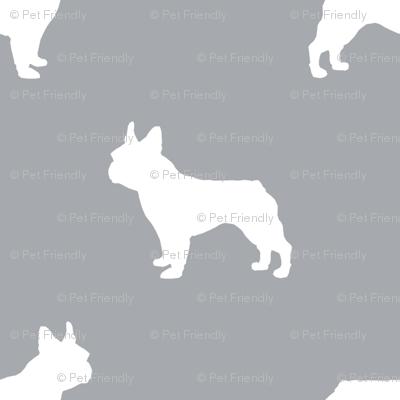 french bulldog fabric dog silhouette fabric - quarry