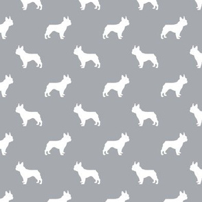 french bulldog fabric dog silhouette fabric - quarry