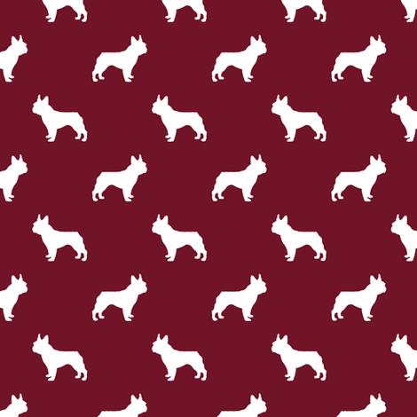 french bulldog fabric dog silhouette fabric - ruby red fabric by petfriendly on Spoonflower - custom fabric