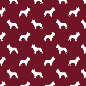 french bulldog fabric dog silhouette fabric - ruby red