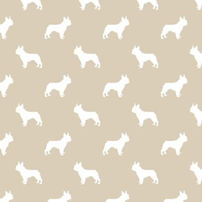 french bulldog fabric dog silhouette fabric - sand
