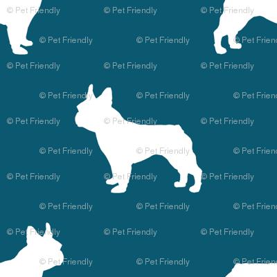 french bulldog fabric dog silhouette fabric - sapphire