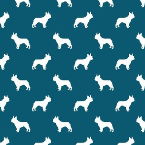french bulldog fabric dog silhouette fabric - sapphire