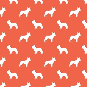 french bulldog fabric dog silhouette fabric - scarlet