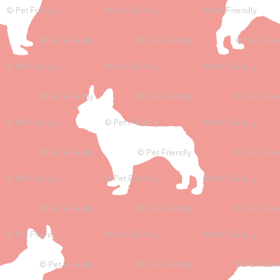 french bulldog fabric dog silhouette fabric - sweet pink