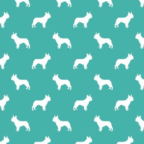 french bulldog fabric dog silhouette fabric - turquoise