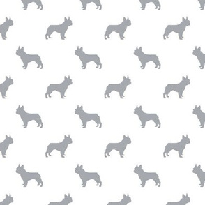 french bulldog fabric dog silhouette fabric - grey and white