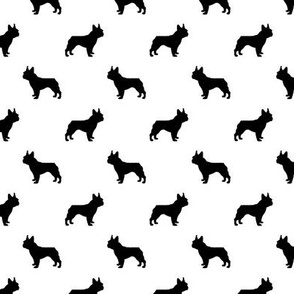 french bulldog fabric dog silhouette fabric - white