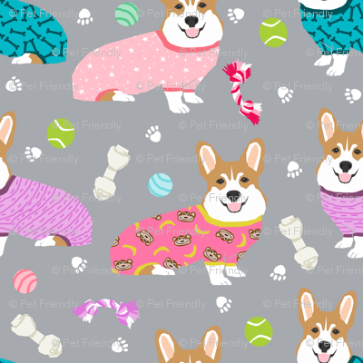 Corgis In Jammies Girls Pink And Grey Cute Dogs In