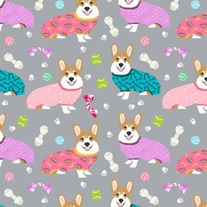 corgis in jammies - girls pink and grey cute dogs in pajamas pyjamas fabric