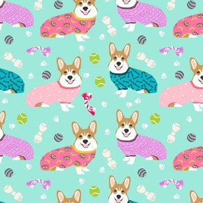 corgis in jammies - girls pink and mint cute dogs in pajamas pyjamas fabric