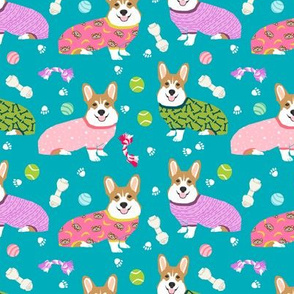 corgis in jammies - girls turquoise cute dogs in pajamas pyjamas fabric