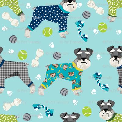 Schnauzers In Jammies Fabric Cute Dogs In Pajamas Pyjamas