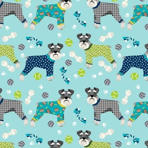schnauzers in jammies fabric cute dogs in pajamas pyjamas fabric - blue