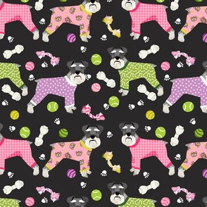 schnauzers in jammies fabric cute dogs in pajamas pyjamas fabric - charcoal