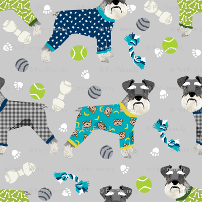 schnauzers in jammies fabric cute dogs in pajamas pyjamas fabric - grey and blue